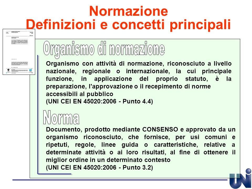 Documento, prodotto mediante CONSENSO e approvato da un organismo riconosciuto, che fornisce, per usi comuni e ripetuti, regole, linee guida o caratte