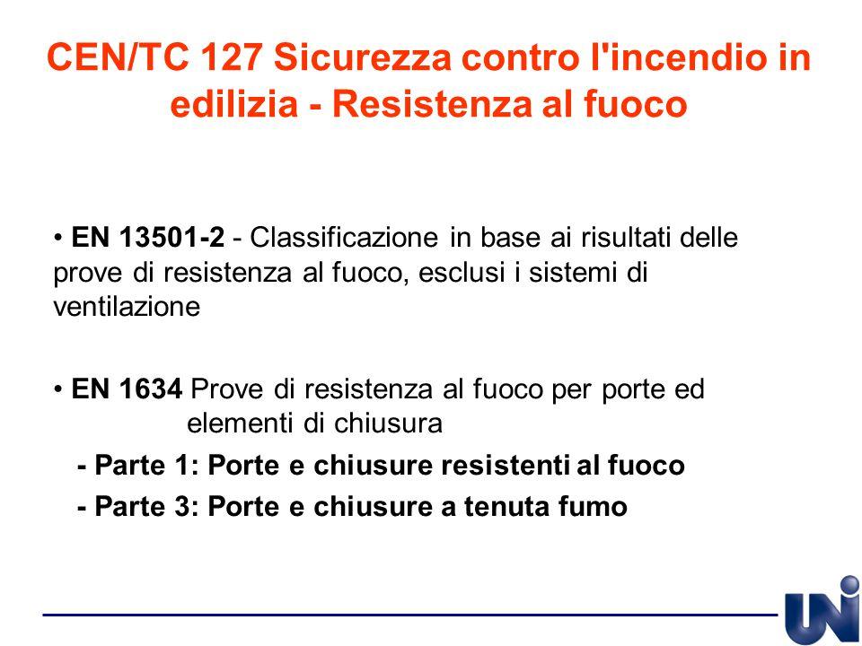 CEN/TC 127 Sicurezza contro l'incendio in edilizia - Resistenza al fuoco EN 13501-2 - Classificazione in base ai risultati delle prove di resistenza a