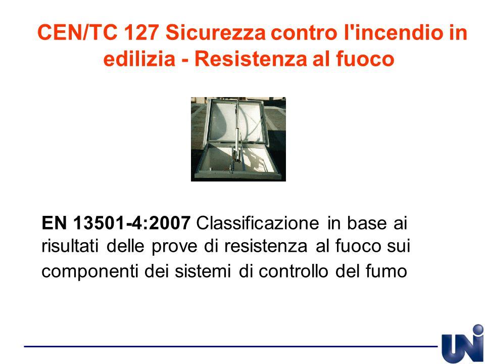 CEN/TC 127 Sicurezza contro l'incendio in edilizia - Resistenza al fuoco EN 13501-4:2007 Classificazione in base ai risultati delle prove di resistenz