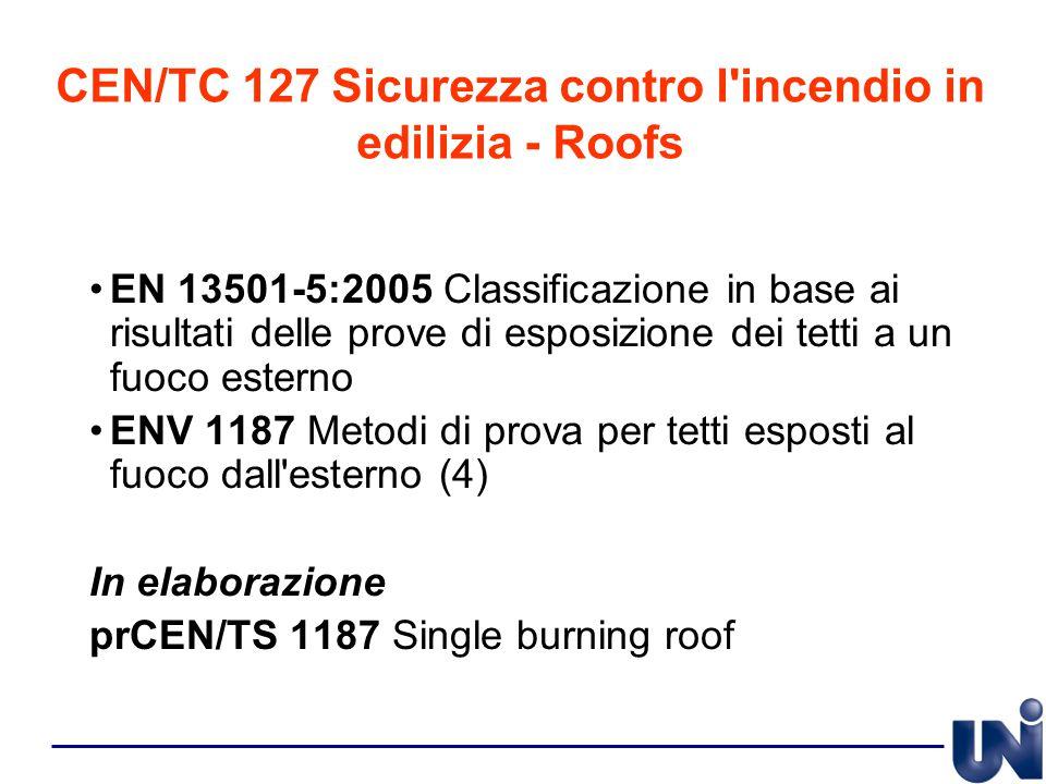 CEN/TC 127 Sicurezza contro l'incendio in edilizia - Roofs EN 13501-5:2005 Classificazione in base ai risultati delle prove di esposizione dei tetti a