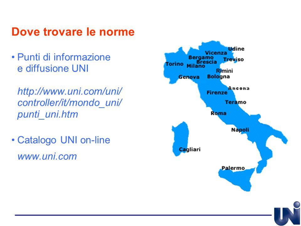 Dove trovare le norme Punti di informazione e diffusione UNI http://www.uni.com/uni/ controller/it/mondo_uni/ punti_uni.htm Catalogo UNI on-line www.u