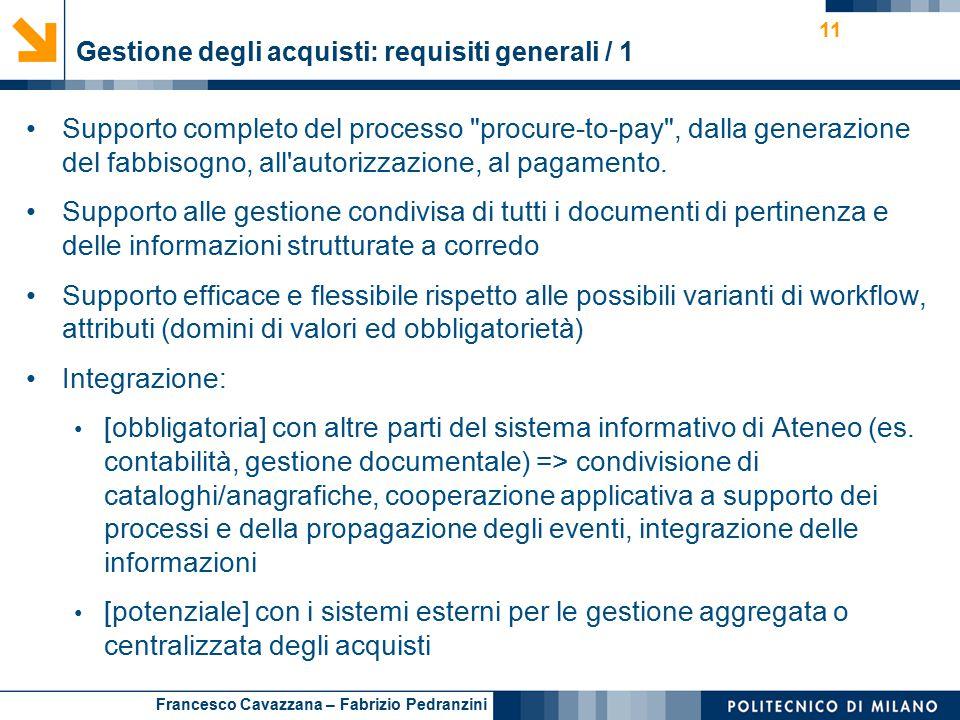 Francesco Cavazzana – Fabrizio Pedranzini Gestione degli acquisti: requisiti generali / 1 11 Supporto completo del processo procure-to-pay , dalla generazione del fabbisogno, all autorizzazione, al pagamento.