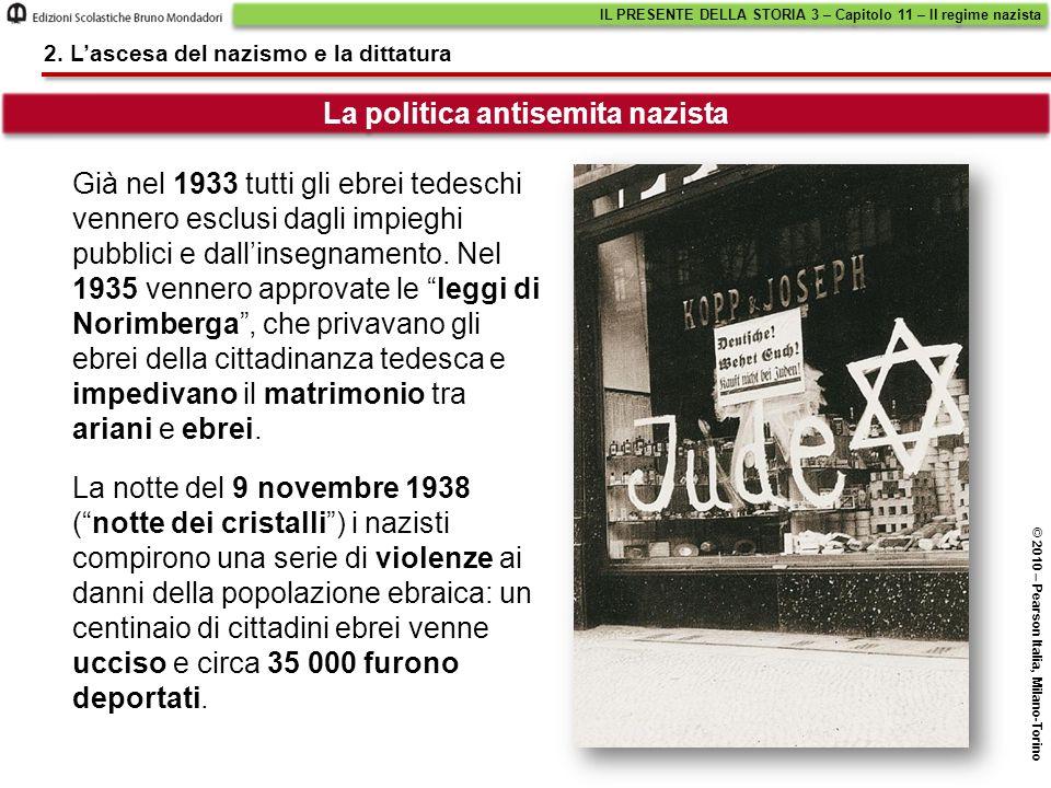 """Già nel 1933 tutti gli ebrei tedeschi vennero esclusi dagli impieghi pubblici e dall'insegnamento. Nel 1935 vennero approvate le """"leggi di Norimberga"""""""