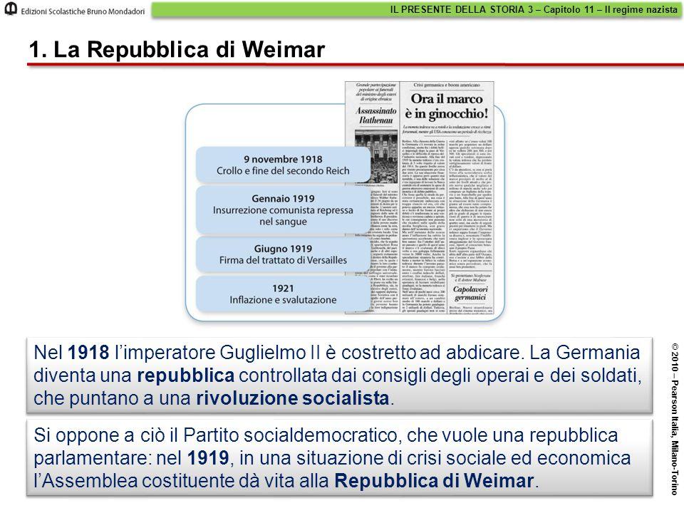 1. La Repubblica di Weimar Si oppone a ciò il Partito socialdemocratico, che vuole una repubblica parlamentare: nel 1919, in una situazione di crisi s