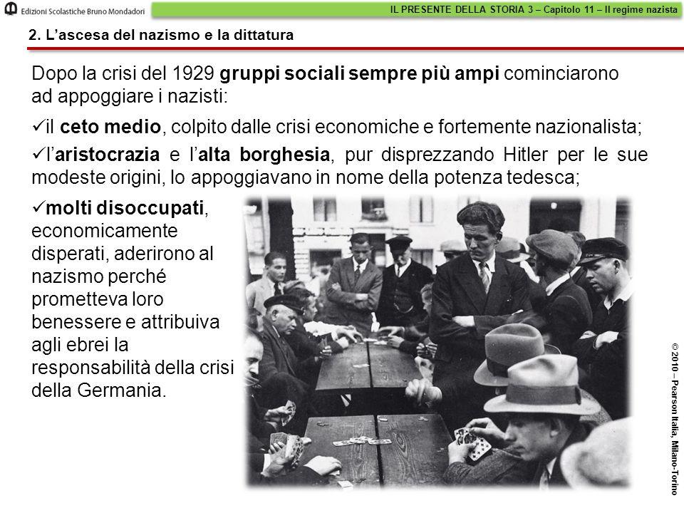 il ceto medio, colpito dalle crisi economiche e fortemente nazionalista; 2. L'ascesa del nazismo e la dittatura molti disoccupati, economicamente disp