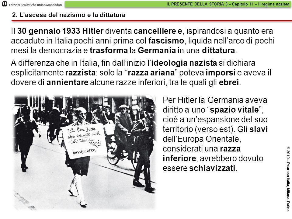 Il 30 gennaio 1933 Hitler diventa cancelliere e, ispirandosi a quanto era accaduto in Italia pochi anni prima col fascismo, liquida nell'arco di pochi