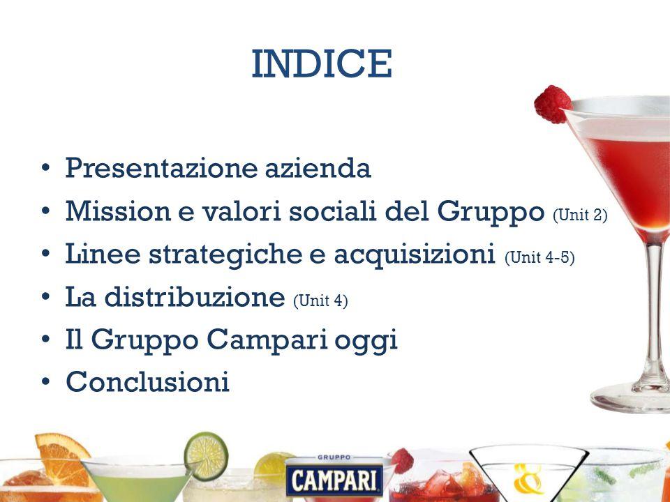 INDICE Presentazione azienda Mission e valori sociali del Gruppo (Unit 2) Linee strategiche e acquisizioni (Unit 4-5) La distribuzione (Unit 4) Il Gruppo Campari oggi Conclusioni