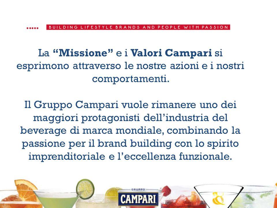 La Missione e i Valori Campari si esprimono attraverso le nostre azioni e i nostri comportamenti.