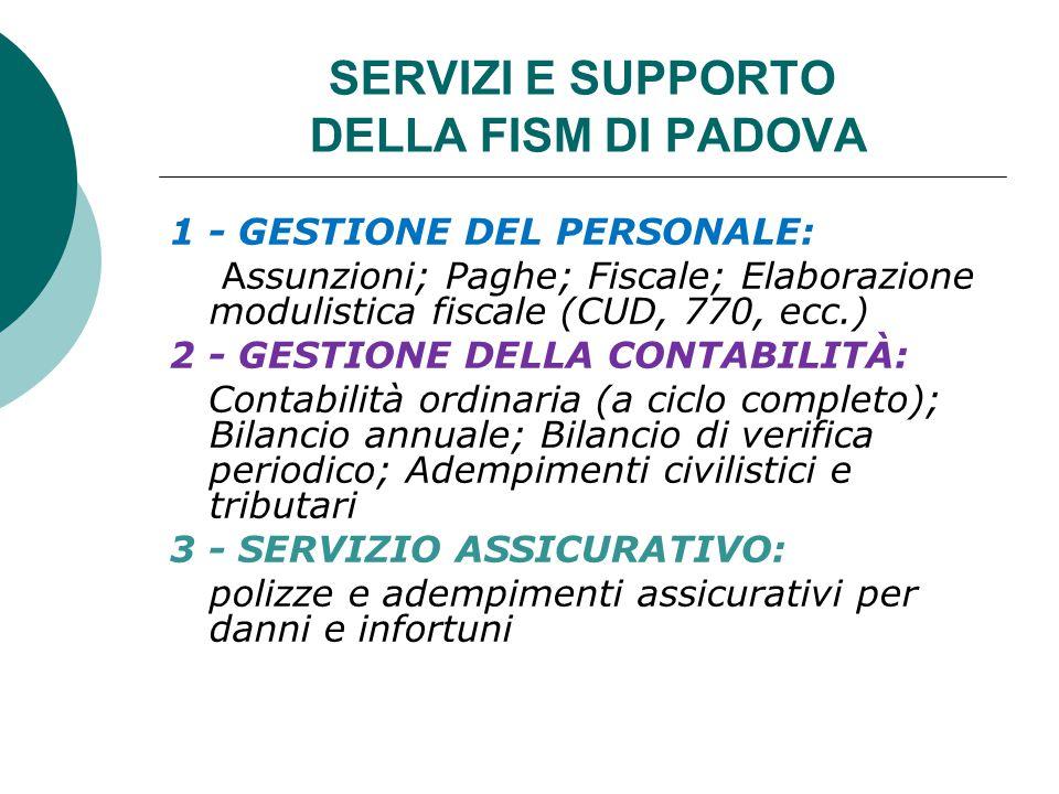SERVIZI E SUPPORTO DELLA FISM DI PADOVA 1 - GESTIONE DEL PERSONALE: Assunzioni; Paghe; Fiscale; Elaborazione modulistica fiscale (CUD, 770, ecc.) 2 -