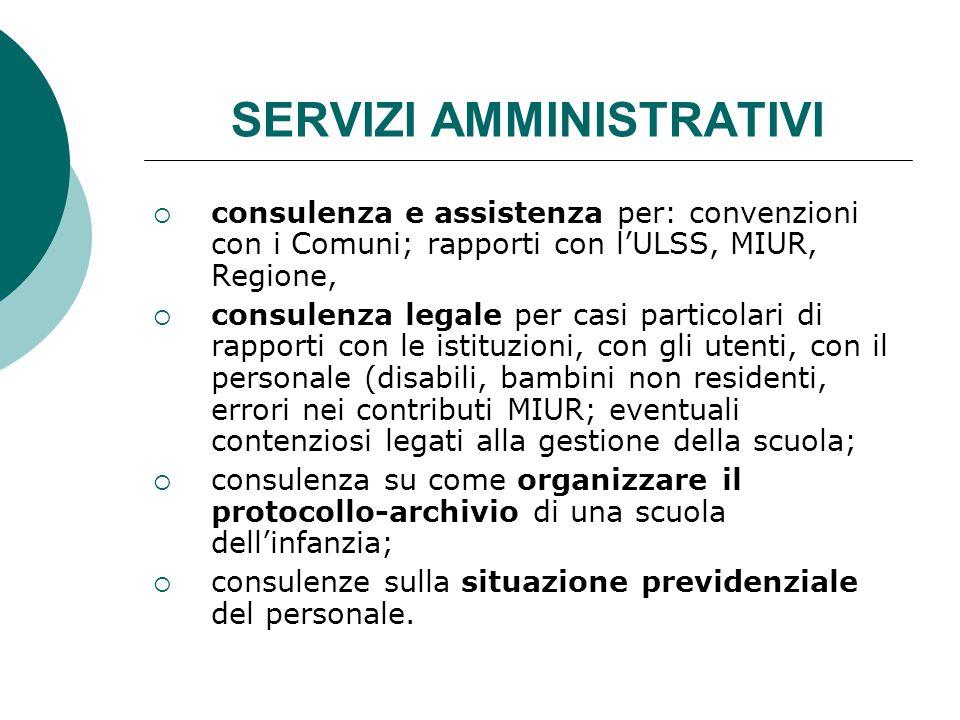 SERVIZI AMMINISTRATIVI  consulenza e assistenza per: convenzioni con i Comuni; rapporti con l'ULSS, MIUR, Regione,  consulenza legale per casi parti