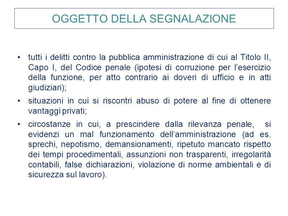 OGGETTO DELLA SEGNALAZIONE tutti i delitti contro la pubblica amministrazione di cui al Titolo II, Capo I, del Codice penale (ipotesi di corruzione pe