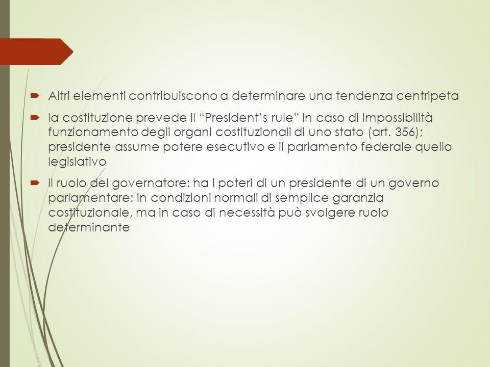  Altri elementi contribuiscono a determinare una tendenza centripeta  la costituzione prevede il President's rule in caso di impossibilità funzionamento degli organi costituzionali di uno stato (art.