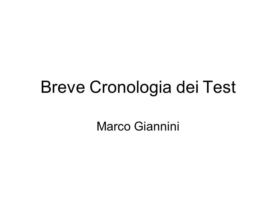 Breve Cronologia dei Test Marco Giannini