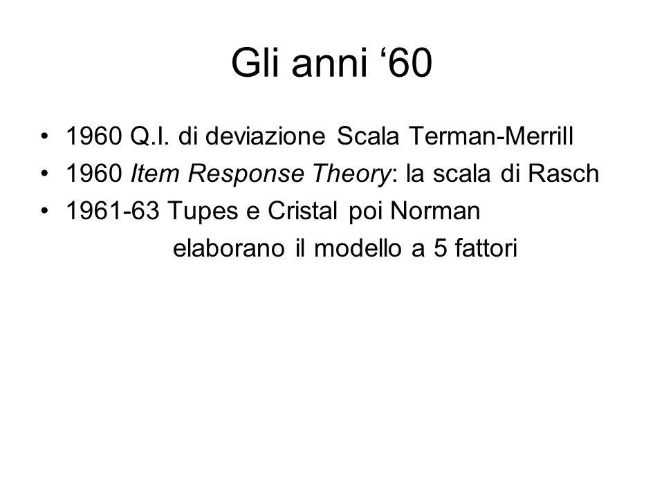 Gli anni '60 1960 Q.I. di deviazione Scala Terman-Merrill 1960 Item Response Theory: la scala di Rasch 1961-63 Tupes e Cristal poi Norman elaborano il