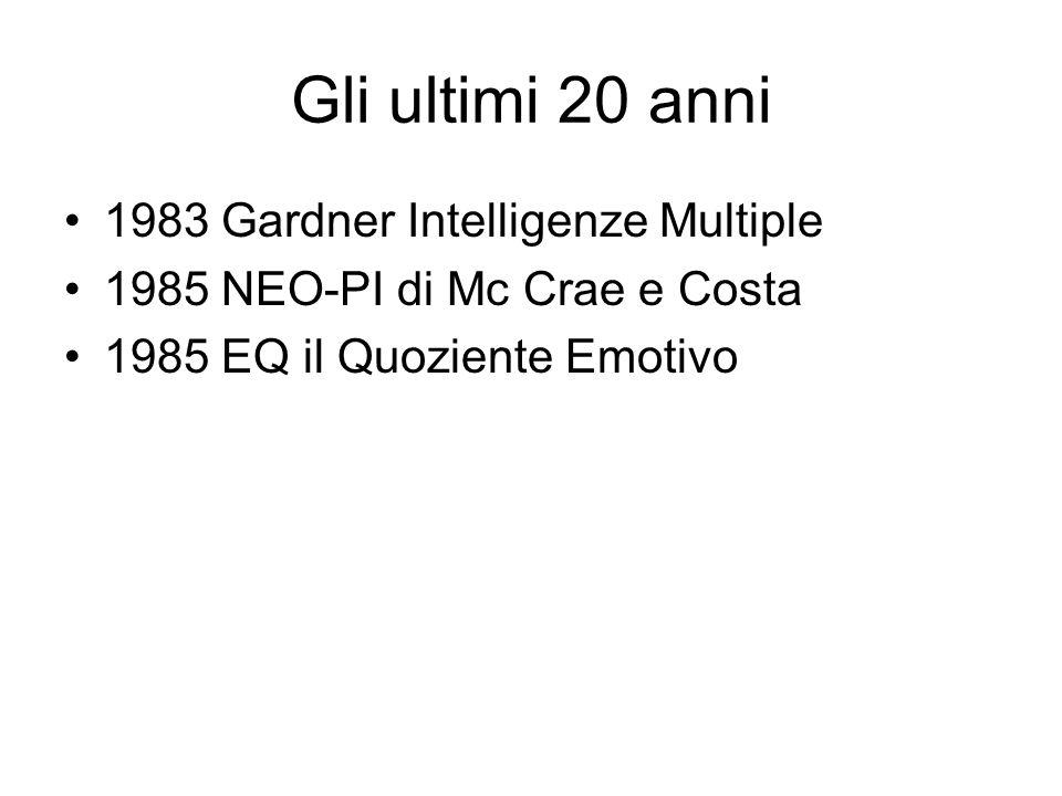 Gli ultimi 20 anni 1983 Gardner Intelligenze Multiple 1985 NEO-PI di Mc Crae e Costa 1985 EQ il Quoziente Emotivo
