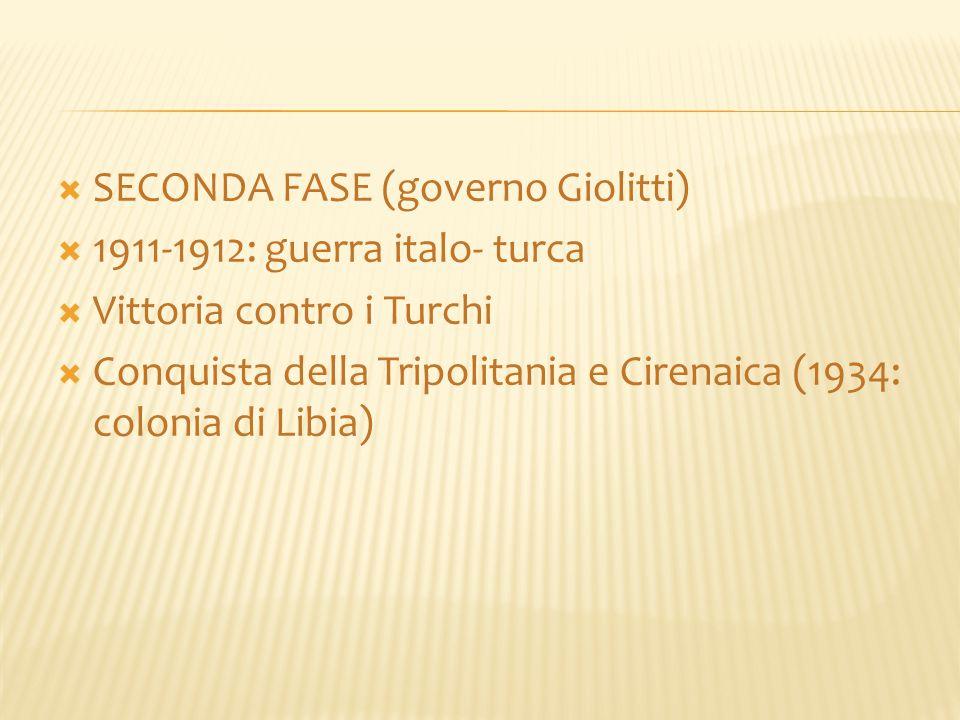  SECONDA FASE (governo Giolitti)  1911-1912: guerra italo- turca  Vittoria contro i Turchi  Conquista della Tripolitania e Cirenaica (1934: coloni