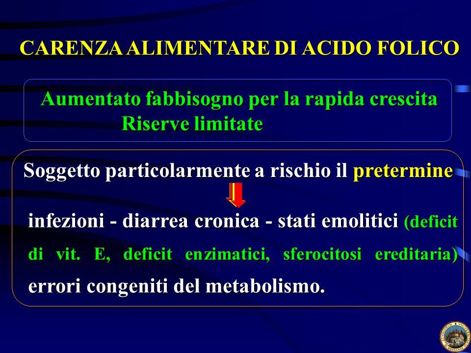 CARENZA ALIMENTARE DI ACIDO FOLICO infezioni - diarrea cronica - stati emolitici (deficit di vit.