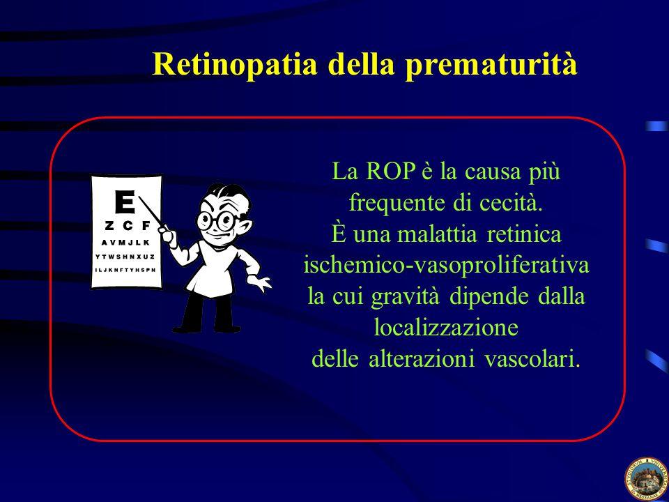 Retinopatia della prematurità La ROP è la causa più frequente di cecità.