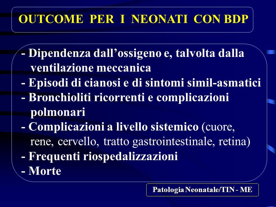 OUTCOME PER I NEONATI CON BDP - Dipendenza dall'ossigeno e, talvolta dalla ventilazione meccanica - Episodi di cianosi e di sintomi simil-asmatici - Bronchioliti ricorrenti e complicazioni polmonari - Complicazioni a livello sistemico (cuore, rene, cervello, tratto gastrointestinale, retina) - Frequenti riospedalizzazioni - Morte Patologia Neonatale/TIN - ME
