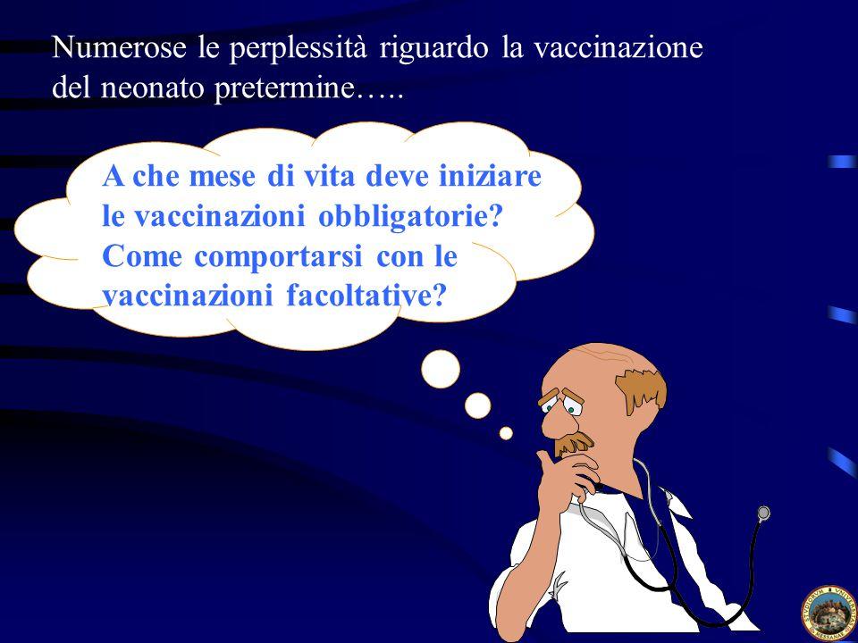 Numerose le perplessità riguardo la vaccinazione del neonato pretermine…..