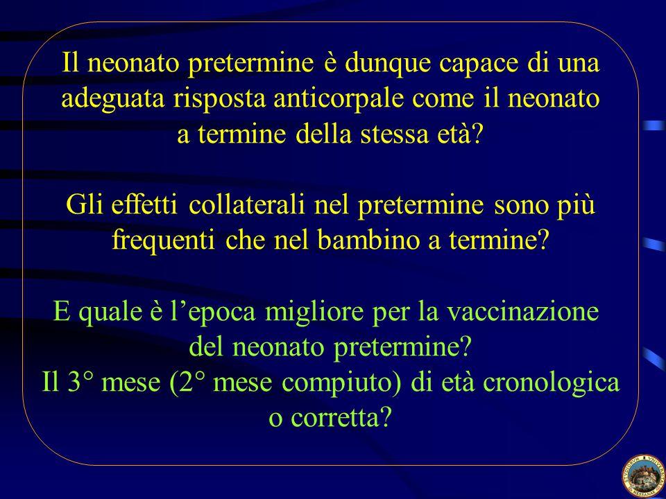 Il neonato pretermine è dunque capace di una adeguata risposta anticorpale come il neonato a termine della stessa età.