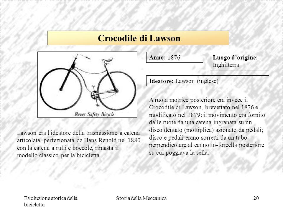 Evoluzione storica della bicicletta Storia della Meccanica20 Luogo d'origine: Inghilterra Ideatore: Lawson (inglese) A ruota motrice posteriore era in