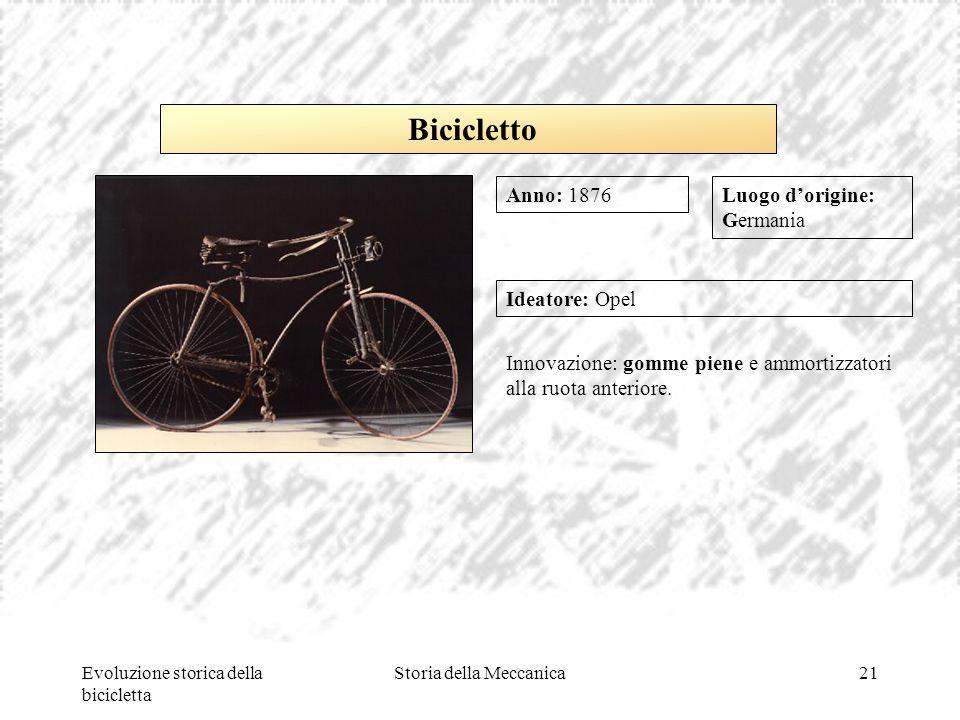 Evoluzione storica della bicicletta Storia della Meccanica21 Luogo d'origine: Germania Ideatore: Opel Innovazione: gomme piene e ammortizzatori alla r
