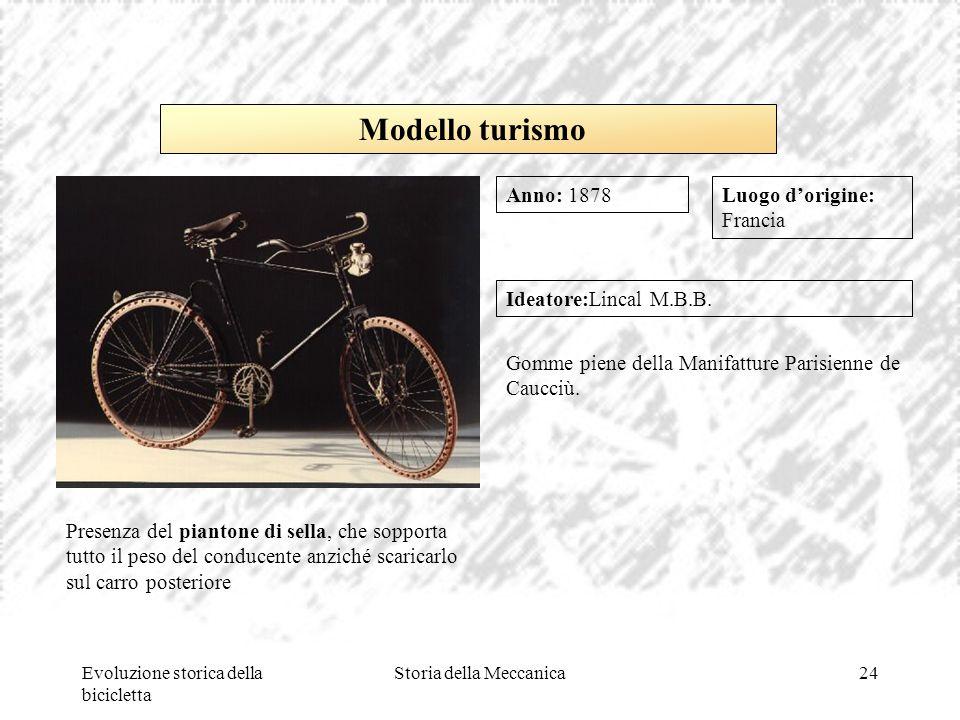 Evoluzione storica della bicicletta Storia della Meccanica24 Luogo d'origine: Francia Ideatore:Lincal M.B.B. Gomme piene della Manifatture Parisienne
