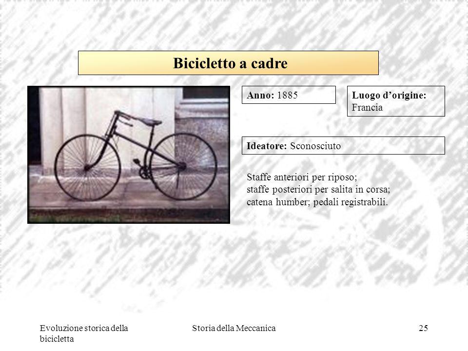 Evoluzione storica della bicicletta Storia della Meccanica25 Luogo d'origine: Francia Ideatore: Sconosciuto Staffe anteriori per riposo; staffe poster