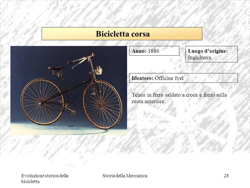Evoluzione storica della bicicletta Storia della Meccanica28 Luogo d'origine: Inghilterra Ideatore: Officine Ivel Telaio in ferro saldato a croce e fr