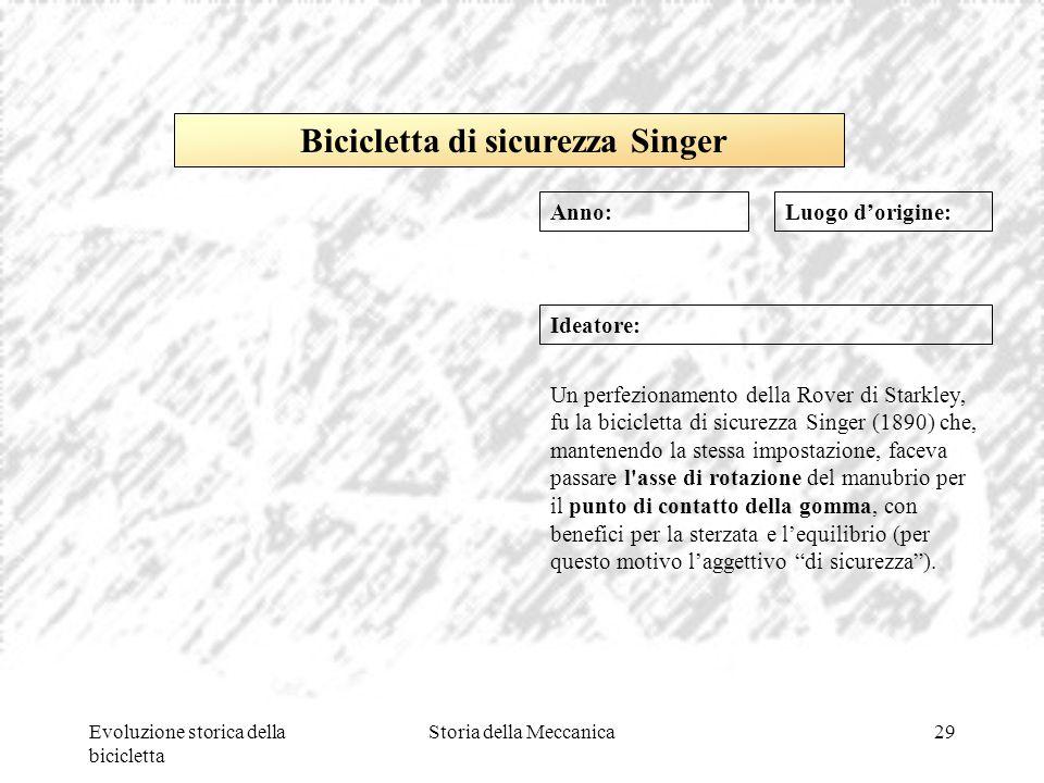 Evoluzione storica della bicicletta Storia della Meccanica29 Luogo d'origine: Ideatore: Un perfezionamento della Rover di Starkley, fu la bicicletta d