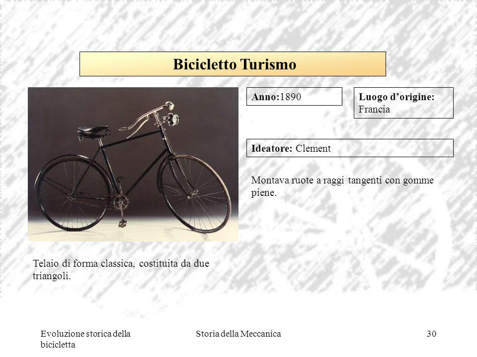 Evoluzione storica della bicicletta Storia della Meccanica30 Luogo d'origine: Francia Ideatore: Clement Montava ruote a raggi tangenti con gomme piene