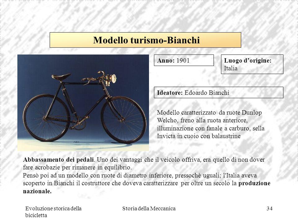 Evoluzione storica della bicicletta Storia della Meccanica34 Luogo d'origine: Italia Ideatore: Edoardo Bianchi Modello caratterizzato da ruote Dunlop