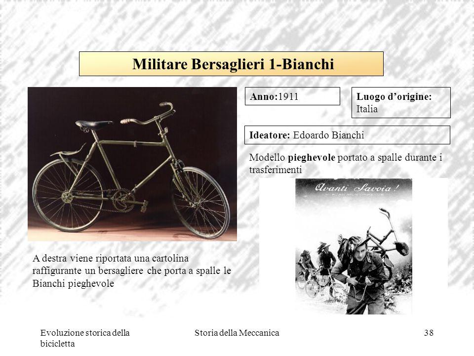 Evoluzione storica della bicicletta Storia della Meccanica38 Luogo d'origine: Italia Ideatore: Edoardo Bianchi Modello pieghevole portato a spalle dur
