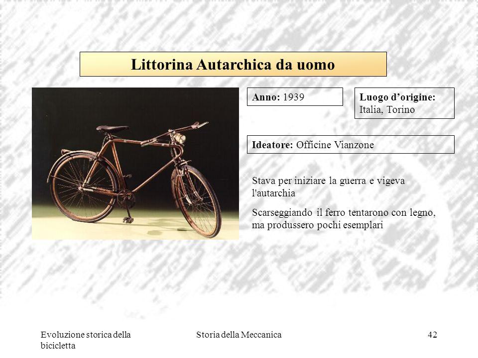 Evoluzione storica della bicicletta Storia della Meccanica42 Luogo d'origine: Italia, Torino Ideatore: Officine Vianzone Stava per iniziare la guerra