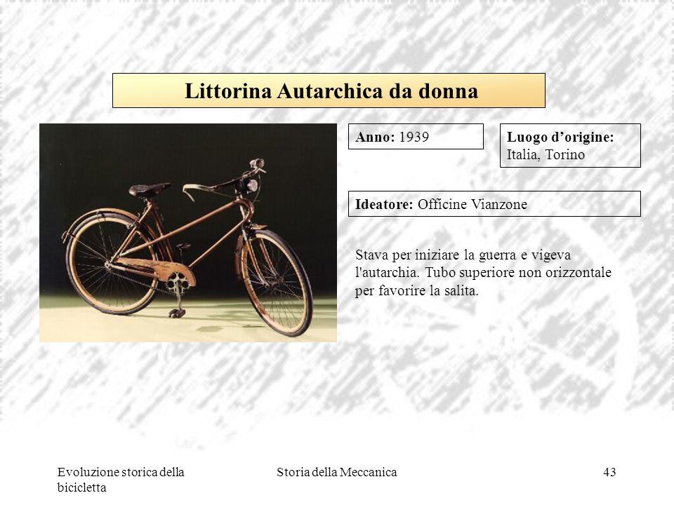 Evoluzione storica della bicicletta Storia della Meccanica43 Stava per iniziare la guerra e vigeva l'autarchia. Tubo superiore non orizzontale per fav