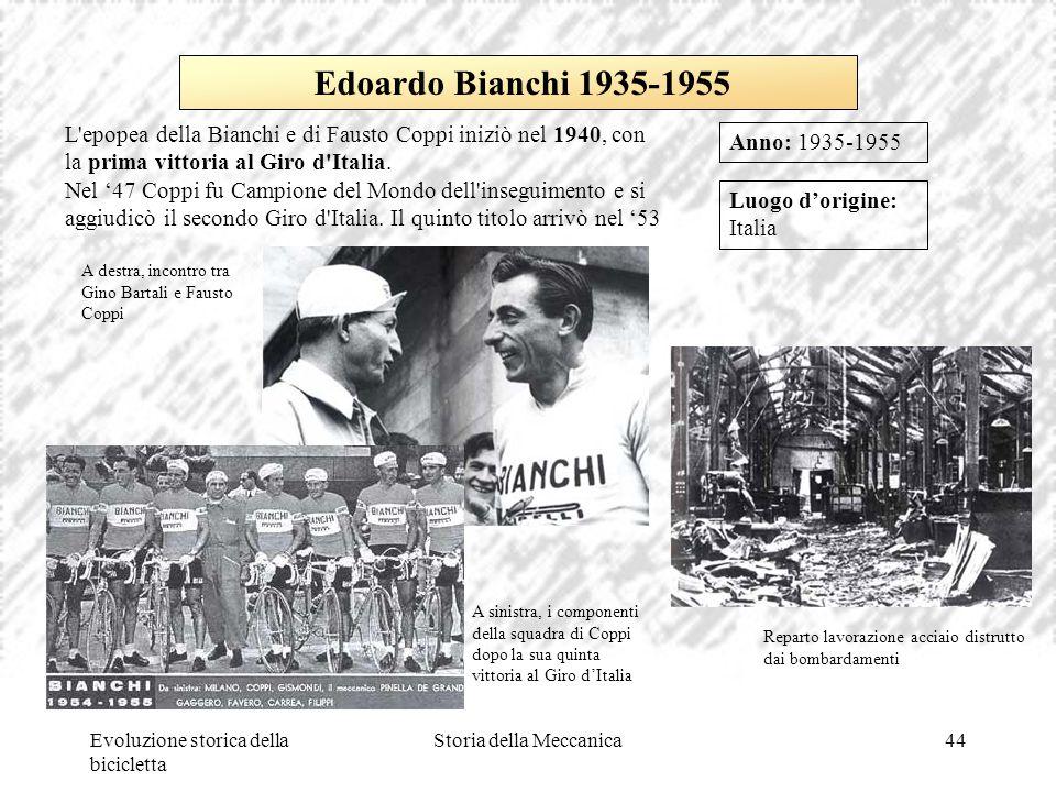 Evoluzione storica della bicicletta Storia della Meccanica44 Luogo d'origine: Italia Anno: 1935-1955 Edoardo Bianchi 1935-1955 L'epopea della Bianchi