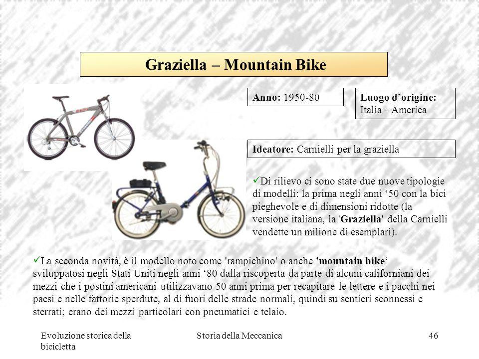 Evoluzione storica della bicicletta Storia della Meccanica46 Luogo d'origine: Italia - America Ideatore: Carnielli per la graziella Di rilievo ci sono