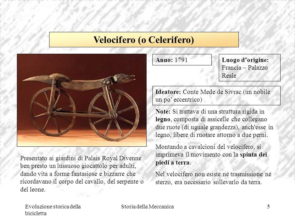 Evoluzione storica della bicicletta Storia della Meccanica5 Luogo d'origine: Francia – Palazzo Reale Ideatore: Conte Mede de Sivrac (un nobile un po'