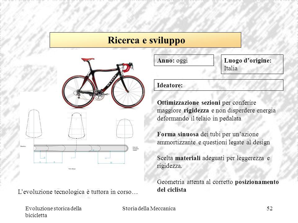 Evoluzione storica della bicicletta Storia della Meccanica52 Luogo d'origine: Italia Ideatore: Ottimizzazione sezioni per conferire maggiore rigidezza
