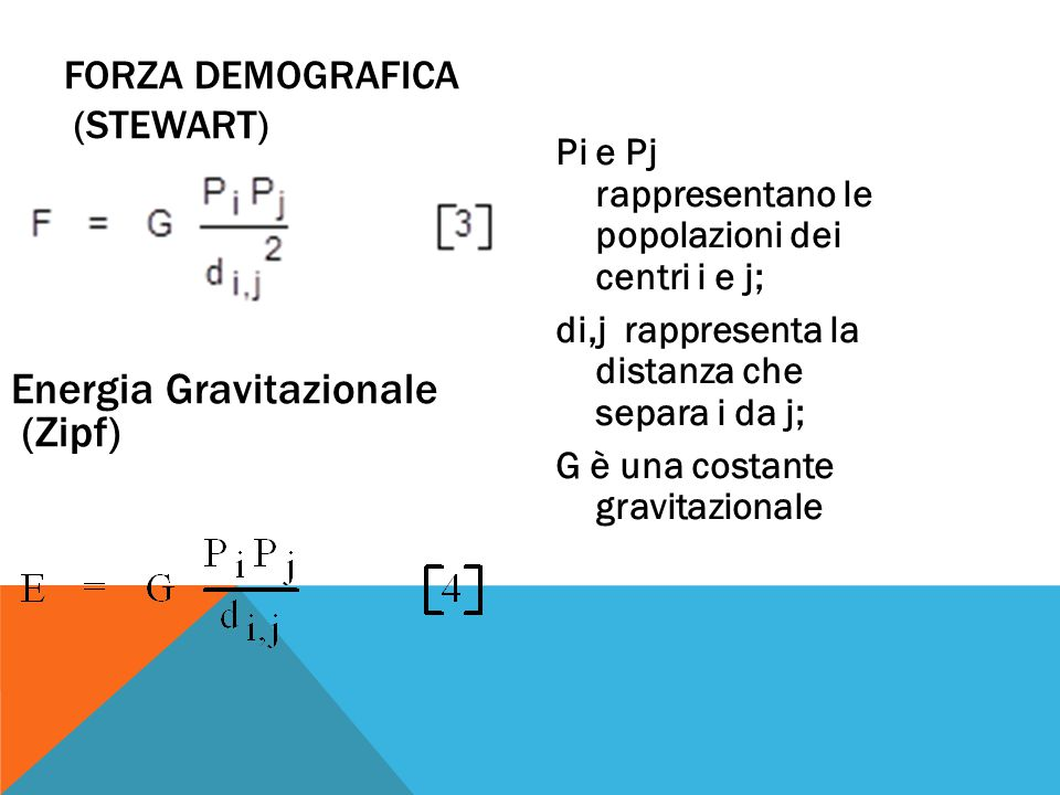 Pi e Pj rappresentano le popolazioni dei centri i e j; di,j rappresenta la distanza che separa i da j; G è una costante gravitazionale FORZA DEMOGRAFICA (STEWART) Energia Gravitazionale (Zipf)