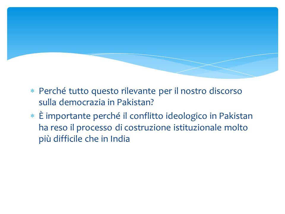  Perché tutto questo rilevante per il nostro discorso sulla democrazia in Pakistan?  È importante perché il conflitto ideologico in Pakistan ha reso
