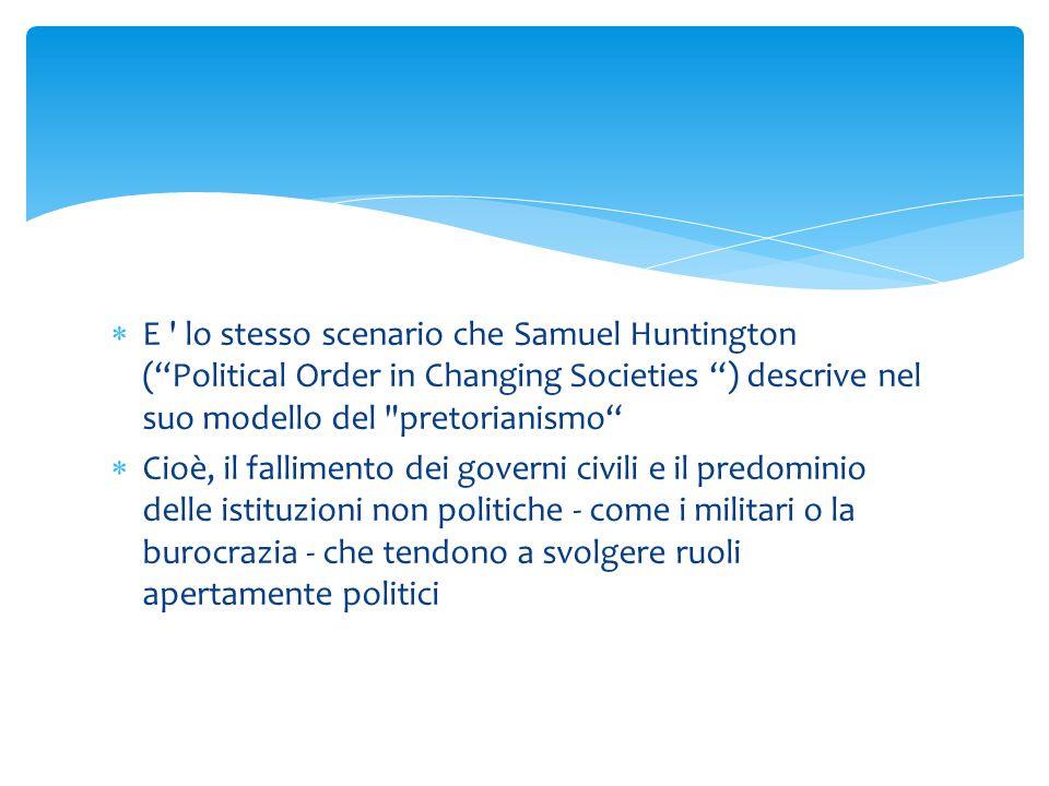 """ E ' lo stesso scenario che Samuel Huntington (""""Political Order in Changing Societies """") descrive nel suo modello del"""