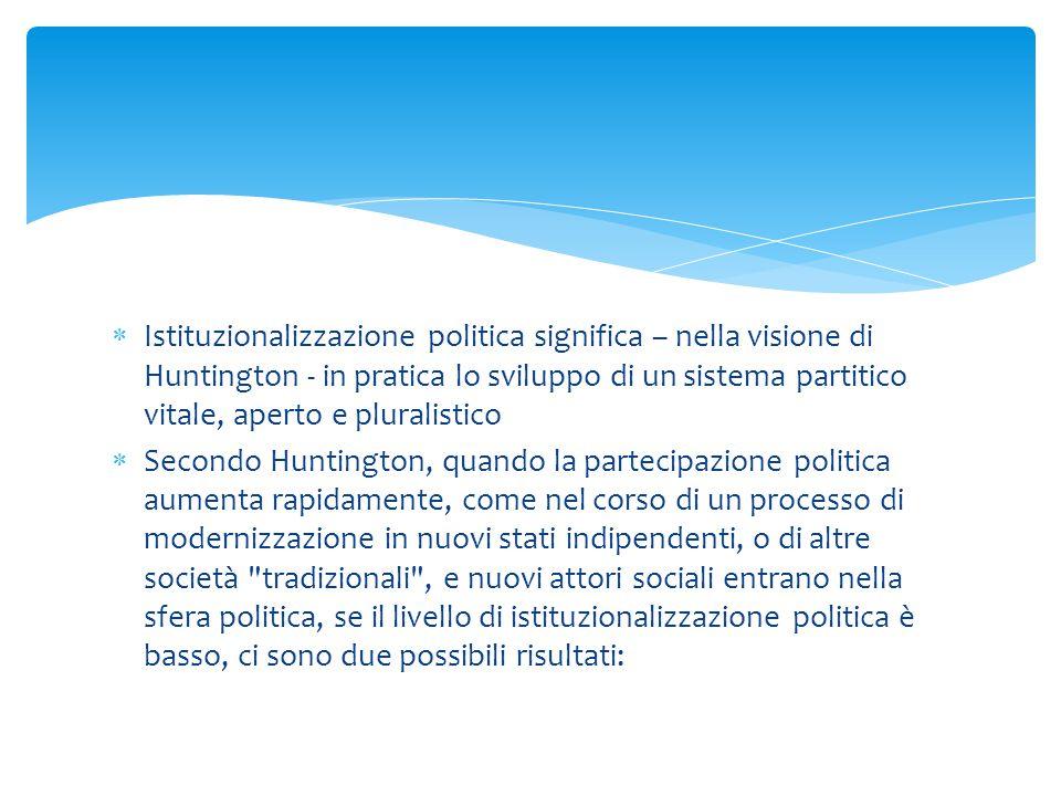  Istituzionalizzazione politica significa – nella visione di Huntington - in pratica lo sviluppo di un sistema partitico vitale, aperto e pluralistic