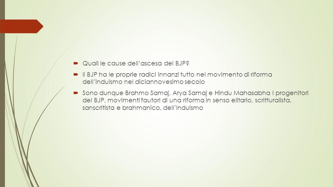  Quali le cause dell'ascesa del BJP?  Il BJP ha le proprie radici innanzi tutto nel movimento di riforma dell'induismo nel diciannovesimo secolo  S