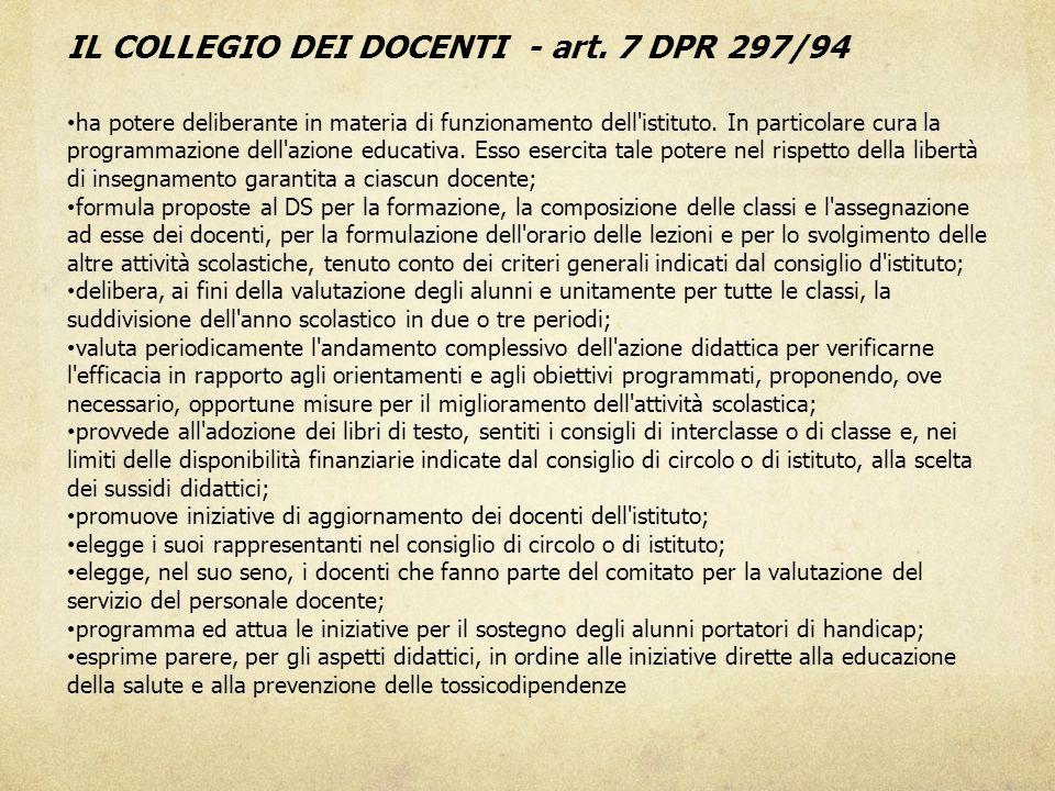 IL COLLEGIO DEI DOCENTI - art. 7 DPR 297/94 ha potere deliberante in materia di funzionamento dell'istituto. In particolare cura la programmazione del