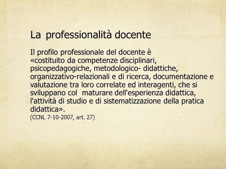 LaLaprofessionalità docente Il profilo professionale del docente è «costituito da competenze disciplinari, psicopedagogiche, metodologico- didattiche,