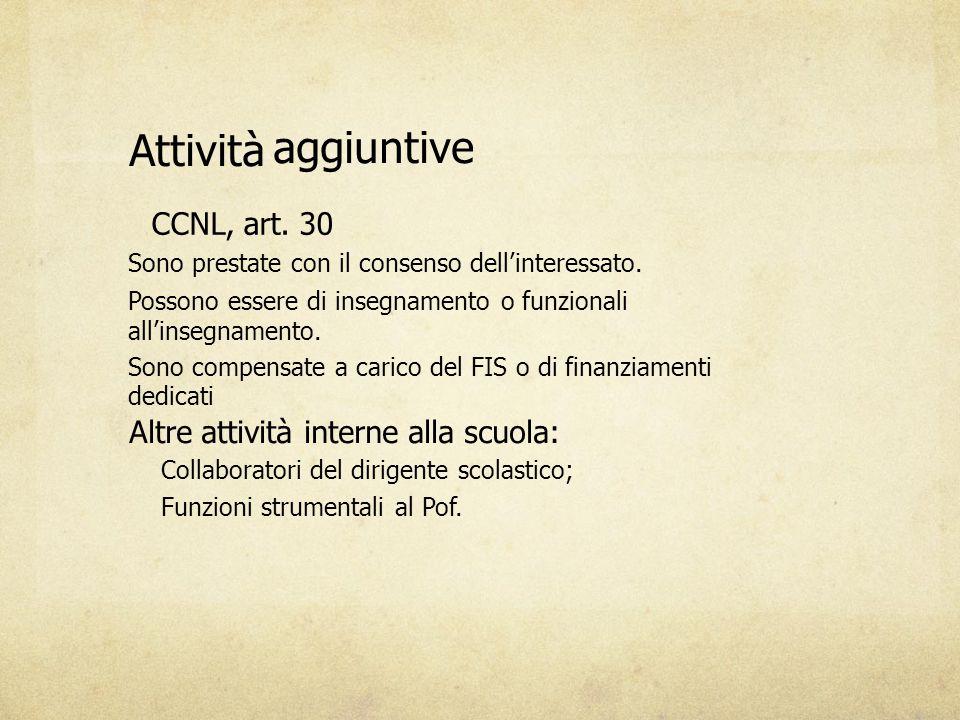 Attività aggiuntive CCNL, art. 30 Sono prestate con il consenso dell'interessato. Possono essere di insegnamento o funzionali all'insegnamento. Sono c