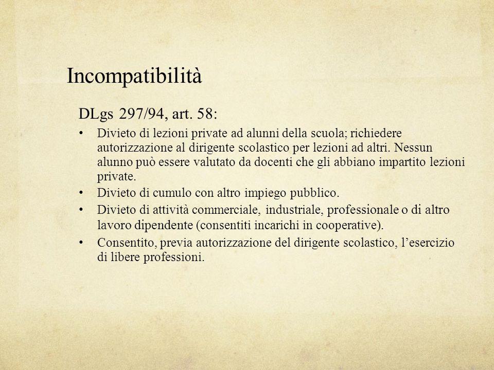 Incompatibilità DLgs 297/94, art. 58: Divieto di lezioni private ad alunni della scuola; richiedere autorizzazione al dirigente scolastico per lezioni