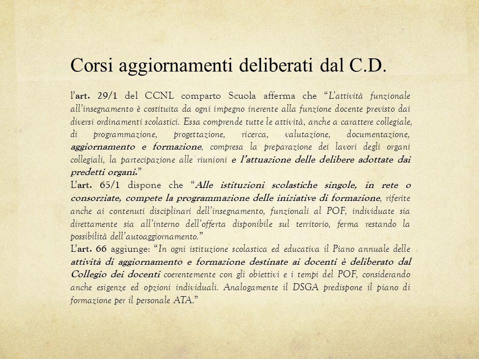 """Corsi aggiornamenti deliberati dal C.D. l' art. 29/1 del CCNL comparto Scuola afferma che """" L'attività funzionale all'insegnamento è costituita da ogn"""